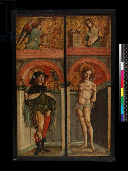 St Roch and St Sebastian; above, The Annunciation (recto), before 1544 (egg tempera with gold and oil glazes on panel)