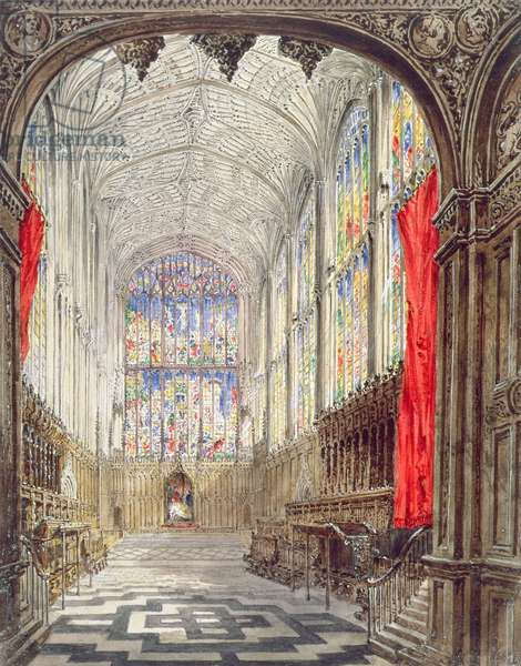 Interior of King's College Chapel, 1843 (w/c and bodycolour over pencil on paper)