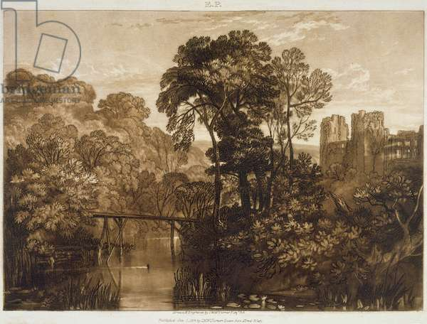 F.58.I Berry Pomeroy Castle, from the 'Liber Studiorum', engraved by the artist, 1816 (etching)