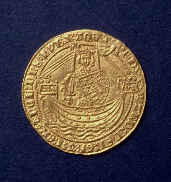 Noble of Edward III (1312-77) obverse showing the king on a ship, Calais mint, intro. 1344 (gold) (for reverse see: 110161)