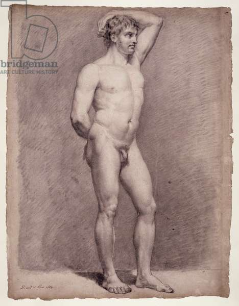 Academy Study of the Male Nude, 1764 (black chalk on paper)