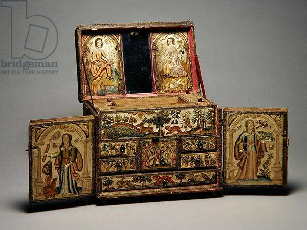 Casket decorated with Embroidery, c.1650-75 (embroidery on satin and wood panels)