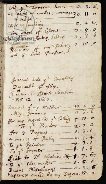 Ms 1-1936 f.7r Page from a notebook containing Newton's thoughts on optics and his household accounts, c.1665-68 (ink on paper)