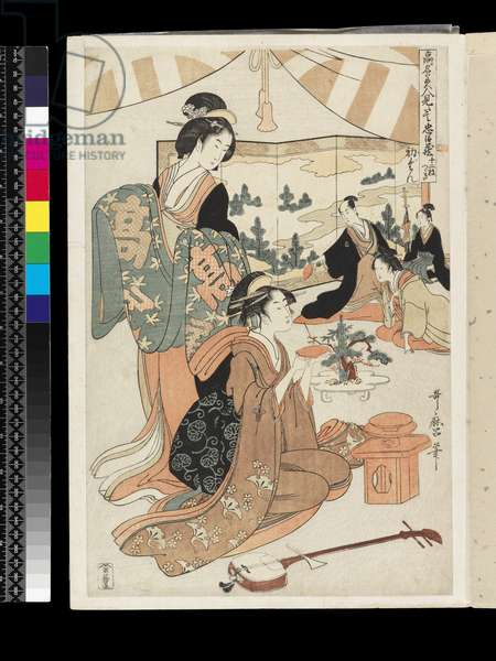 The Chûshingura drama parodied by famous beauties: Act 1, c.1795 (colour woodblock print)