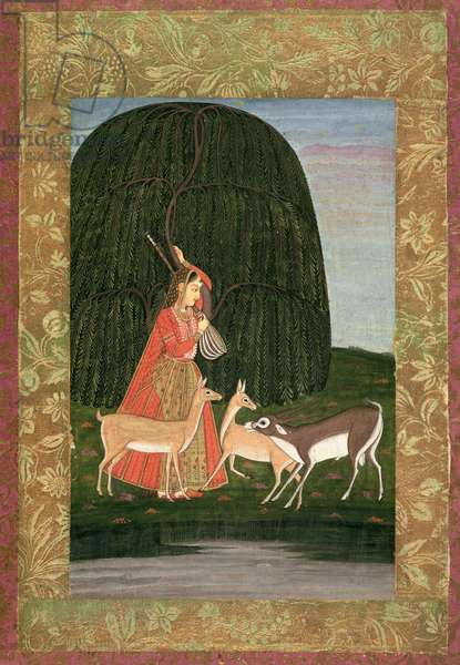 PD.201-1948 Girl playing a vina with three antelopes, or an allegory on the power of love, Mughal school, mid 18th century (gouache on paper)