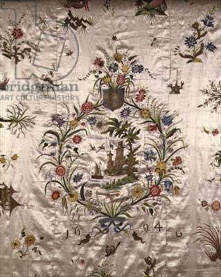 Bed Coverlet, detail of central panel, by Mary Thurstone, 1694 (white satin with coloured silks)