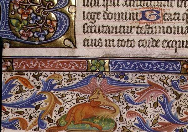 Ms 1055-1975 f.93v Floral border and a grotesque animal, detail of a page from a Book of Hours, Flemish, c.1440