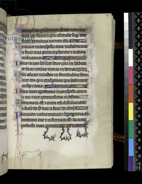 MS 300 f.68r, folio from the Psalter and Hours of Isabella of France, Paris, c.1265-70 (pen & ink and tempera on parchment)