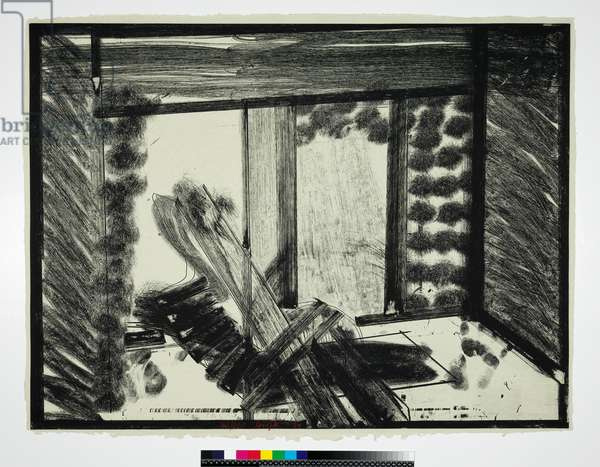 Thinking Aloud in the Museum of Modern Art, 1979 (soft-ground etching on yellowish-grey Hodgkinson handmade paper)