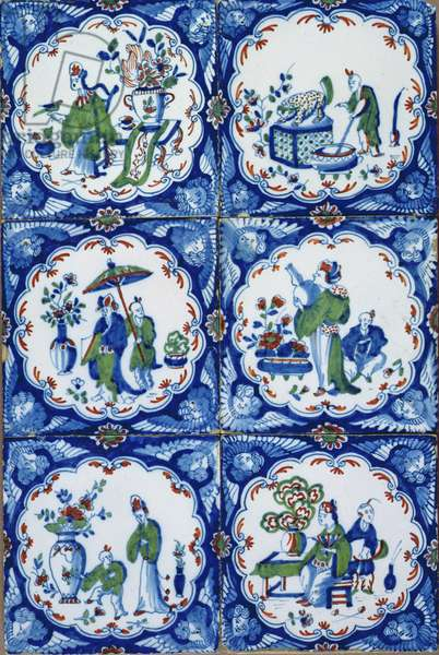 Six tin-glazed earthenware tiles, with Chinoiserie scenes, probably Bristol, c.1725-50