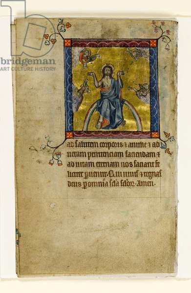 MS 1-2005, fol. 8v: Christ in Judgement, miniature from the Macclesfield Psalter, Use of Sarum, East Anglia, c.1330 (vellum)