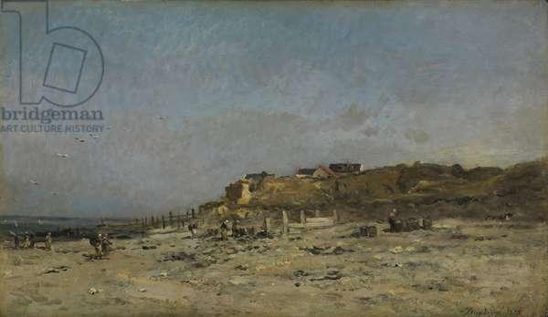 Plage de Villerville, Normandy, 1875 (oil on panel)