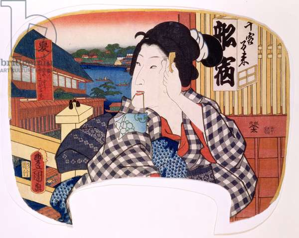 Summer, the river at Ryoguku; A geisha combing her hair, design for a fan from a set of four illustrating the seasons, 1858 (woodblock print)