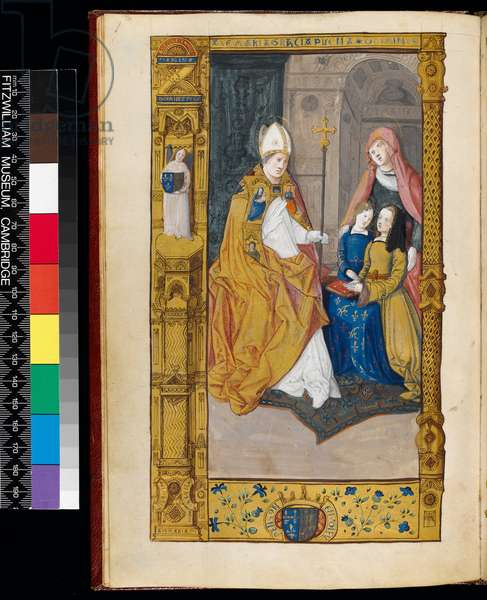 Ms 159, fol 2v Anne of Brittany presented to St Claude, from 'The Primer of Claude de France' (ink & gold ink on parchment)