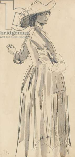 A standing woman in a hat (graphite with w/c wash on paper)