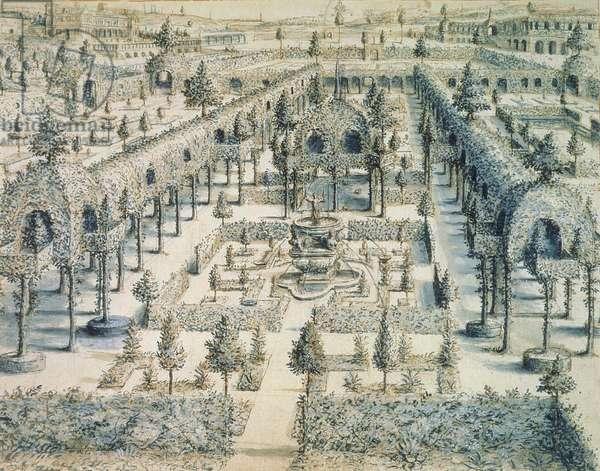 Design for an Ornamental Garden, 1576 (pen, ink & blue wash on paper)