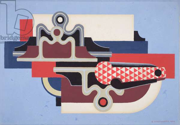 Abstract design with a clasp knife, 1930 (gouache on paper)