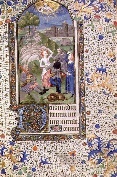 MS 74 f.71r The Annunciation to the Shepherds from a Book of Hours, French, c.1480 (vellum)