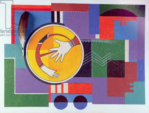 Sikyati Hand with Bee, 1973 (acrylic & feather on canvas)