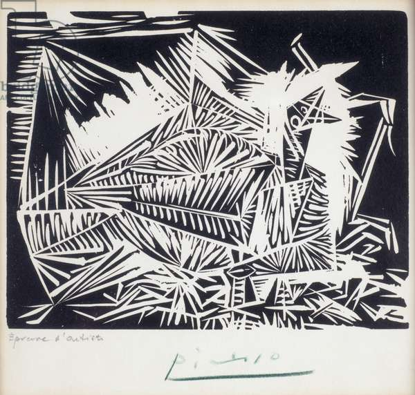 Young Pigeon, 1939 (linocut)