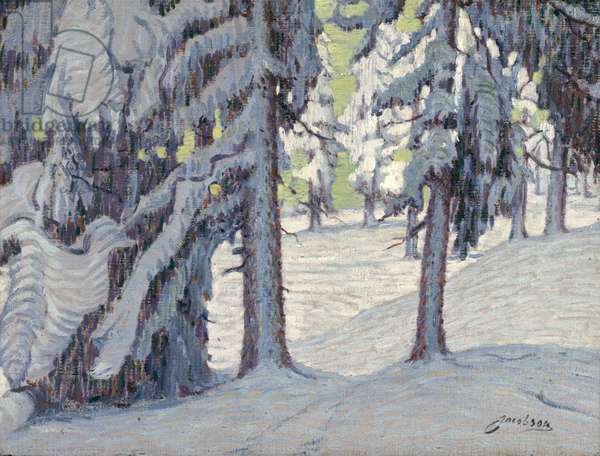 Winter Forest in Sweden, c.1914 (oil on canvas)