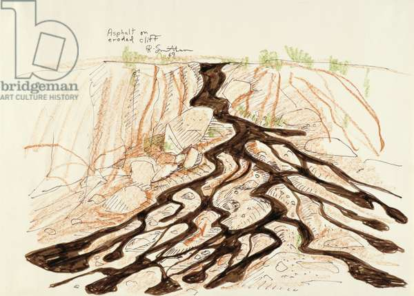 Asphalt on Eroded Cliff, 1969 (ink & coloured chalk on paper)
