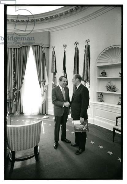 President Nixon in the Oval Office with Representative Gerald R. Ford, 14th December 1970 (b/w photo)