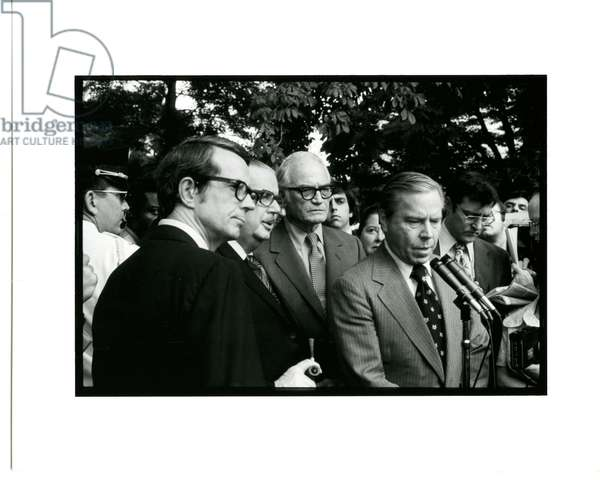 Press Conference on the White House Lawn after the visit to President Nixon by congressmen to inform him that they did not have the votes to prevent impeachment, August 7, 1974 (b/w photo)