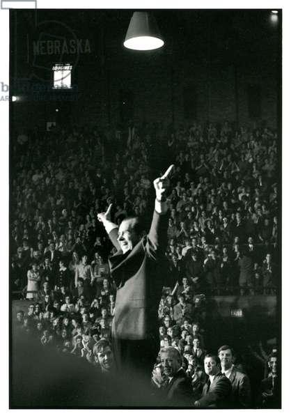 President Nixon at the University of Nebraska, 14th January 1971 (b/w photo)
