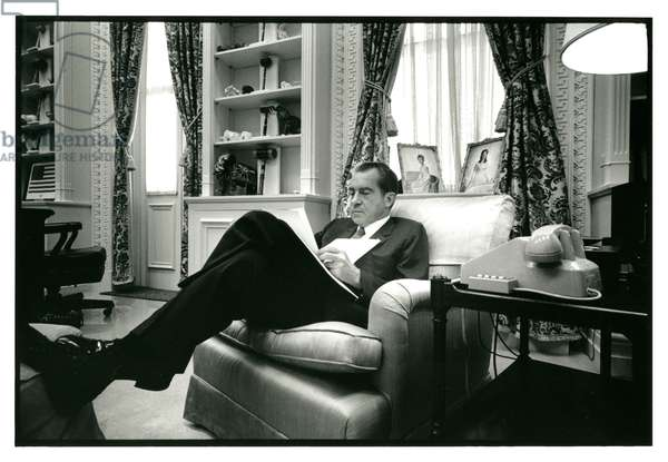 President Nixon working on a speech in his office in the Executive Office Building, 7th October, 1970 (b/w photo)