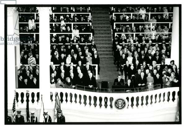 President Nixon's Inaugural Address, East Front of the Capitol, January 1973 (b/w photo)