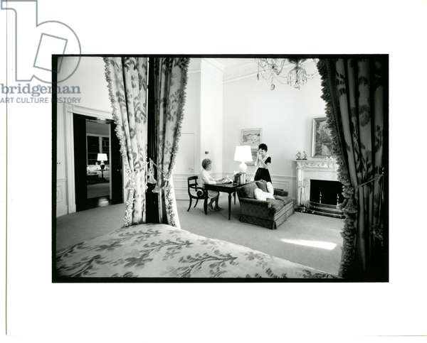 Mrs Nixon in her bedroom at the White House, with her daughter, Julie, February 1971 (b/w photo)