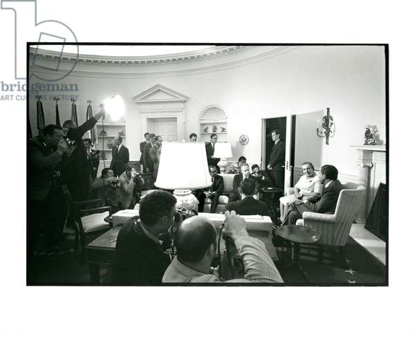 Israeli Prime Minster Golda Meir and President Nixon during a 'photo op' in the Oval Office, 18th September, 1970