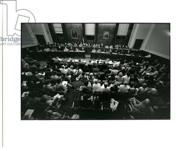 The House Judiciary Committee Room in the Sam Rayburn Building during the Impeachment of President Nixon, July 1974 (b/w photo)
