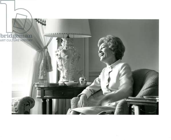 Mrs Nixon during a conversation with a journalist in the family quarters of the White House, February 1971 (b/w photo)