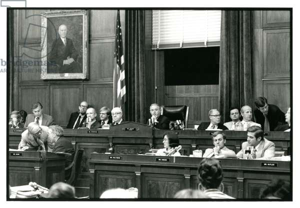 House Judiciary Committee Room in the Sam Rayburn House Office Building during the impeachment proceedings of President Nixon, July 1974 (b/w photo)