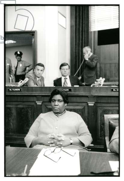Representative Barbara Jordan during the Impeachment hearings of President Nixon, July 1974 (b/w photo)