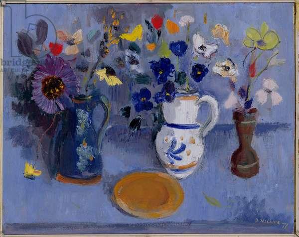 Blue Flowerpiece, 1977 (oil on panel)
