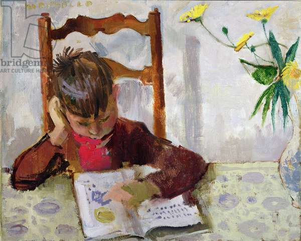 Boy Reading, 1957 (oil on canvas)
