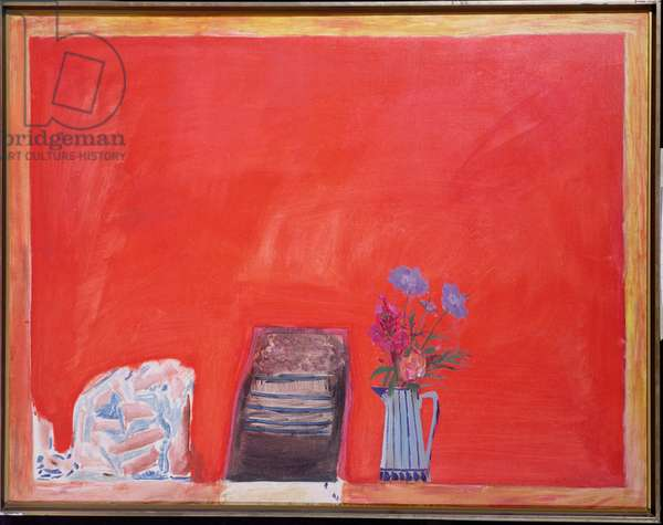 Flowers and Red Table, 1969 (oil on canvas)