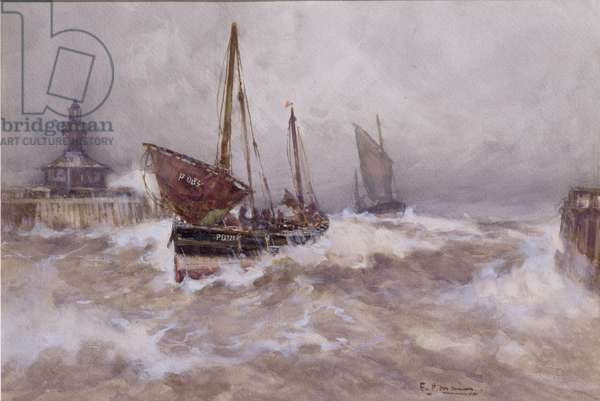 Peterhead Fishing Smacks Running for Lowestoft Harbour (w/c on paper)