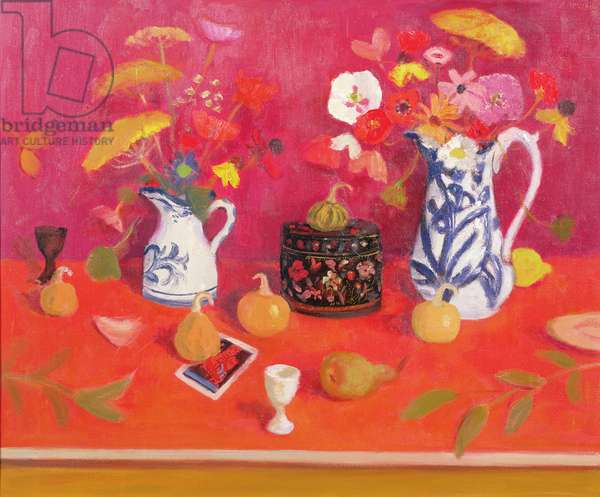 Flowers, Black Box and Gourds, 1975 (oil on canvas)