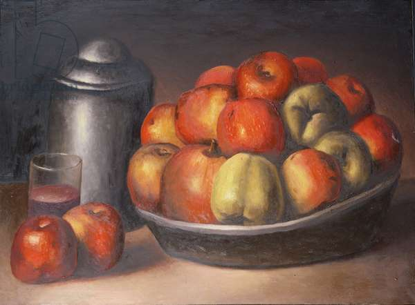Still life with apples and pomegranate (After Courbet), 1991 (oil on canvas)