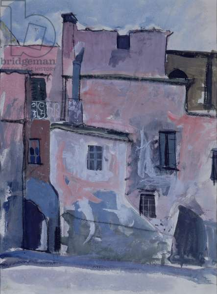 Old Buildings, Spain, 1950 (gouache on paper)