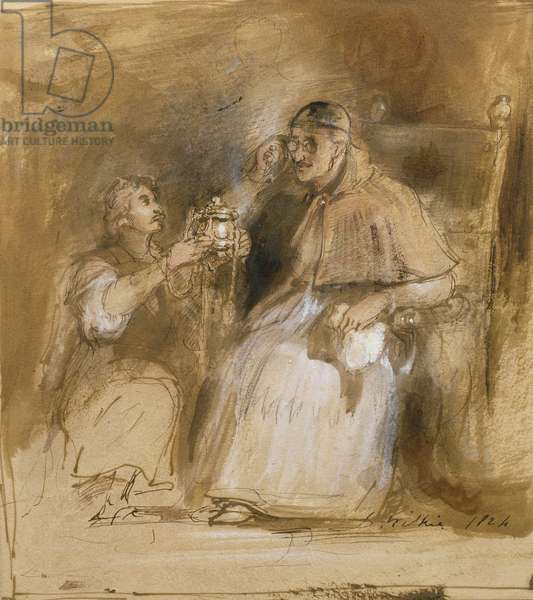 Benvenuto Cellini (1500-71) and Pope Paul II (1468-1579) (w/c on paper)