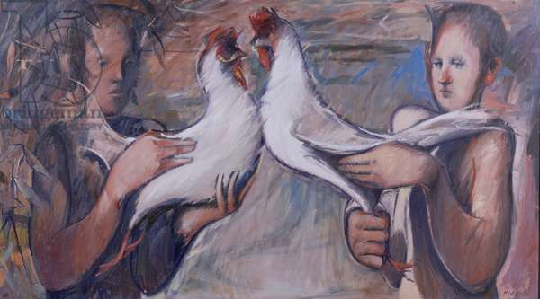 Boys and Fighting Cocks, 1986 (oil on canvas)