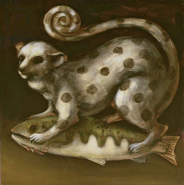 Kinkajou and Parr, 1991 (oil on paper on board)