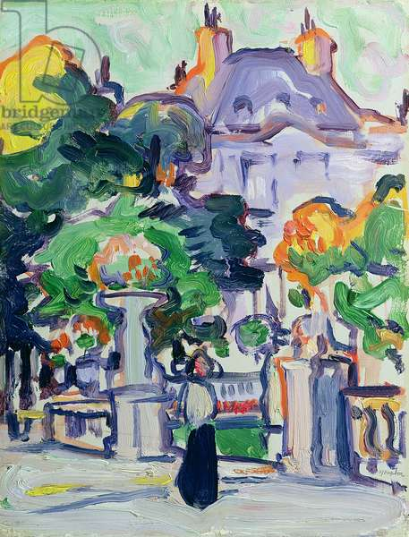 Luxembourg Gardens, c.1910 (oil on panel)