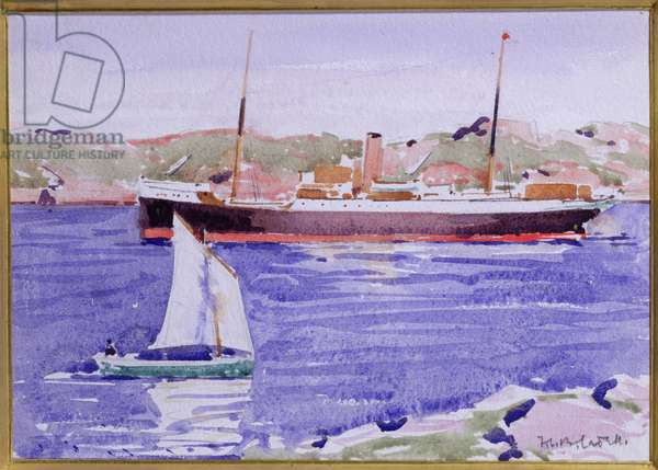 Steamer and Yacht, Iona (w/c on paper)