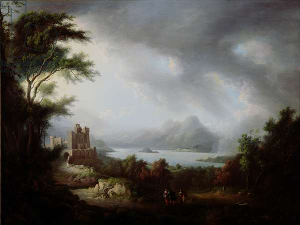 A Stormy Highland Scene (oil on canvas)